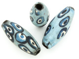 Blue & White 'Eye' Ellipsoid Glass Bead 36-40mm (CB568)