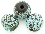 Dark Green & Turquoise Speckled Round Glass Bead 26-30mm (CB572)