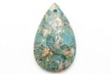 Mosaic Aqua Terra Jasper Teardrop Gemstone Pendant 45mm (GSP2399)