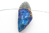 Electroplated Quartz Embellished Gemstone Pendant 56mm (GSP2404)