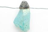 Electroplated Quartz Embellished Gemstone Pendant 48mm (GSP2415)