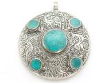 Afghan Tribal Silver Pendant - Turquoise 48mm (AF879)