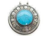 Afghan Tribal Silver Pendant - Turquoise 66mm (AF880)