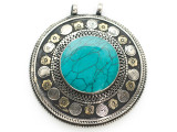 Afghan Tribal Silver Pendant - Turquoise 66mm (AF884)