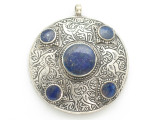 Afghan Tribal Silver Pendant - Lapis Lazuli 47mm (AF885)