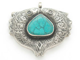 Afghan Tribal Silver Pendant - Turquoise 56mm (AF887)