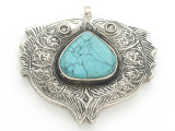 Afghan Tribal Silver Pendant - Turquoise 57mm (AF890)