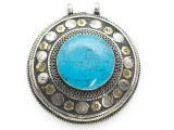 Afghan Tribal Silver Pendant - Turquoise 66mm (AF891)