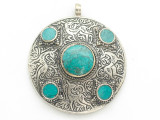 Afghan Tribal Silver Pendant - Turquoise 48mm (AF892)
