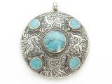 Afghan Tribal Silver Pendant - Turquoise 48mm (AF894)