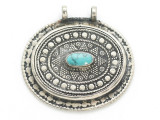 Afghan Tribal Silver Pendant - Turquoise 45mm (AF899)