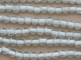 Clear w/White Center Round Glass Beads 8mm (JV1271)