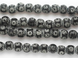 Black Chain Design Glass Beads 11mm (JV1276)