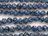 Blue & White Millefiori Round Glass Beads 11mm (JV1288)