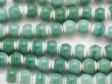 Aqua Green Mix & White Round Glass Beads 12mm (JV1289)