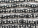 Black w/White Dots Cylinder Glass Beads 12mm (JV1290)
