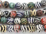 Multi-Color Feather Stripe Round Glass Beads 13mm (JV1296)