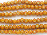 Orange w/Red & Yellow 'Eye' Glass Beads 10mm (JV1303)