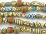 Assorted Green & Blue Painted Glass Beads 9-22mm (JV1304)