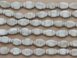 Antiqued White Irregular Oval Glass Beads 16mm (JV1314)