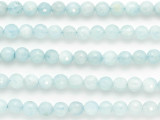 Blue Chalcedony Faceted Round Gemstone Beads 7mm (GS4846)
