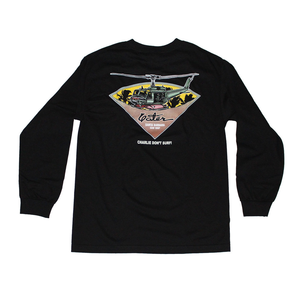 Long Sleeve Black Surfer T Shirt From Yater Surfboards