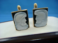 Vintage Men's Cameo 14k Yellow Gold Cufflinks