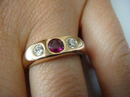 14K ROSE GOLD RUBY AND DIAMONDS LADIES GYPSY RING