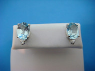 1.60 CT T.W. AQUAMARINE AND DIAMONDS STUD EARRINGS, 14K WHITE GOLD.