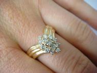 Yellow Gold Diamond V-Shaped Ladies Designer Ring