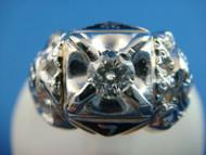 Yellow and White Gold Men's Masonic Diamond Ring