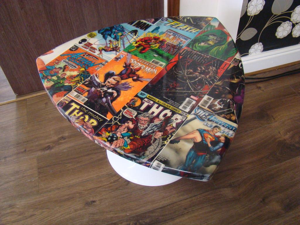 Retro DC Comic Book Table