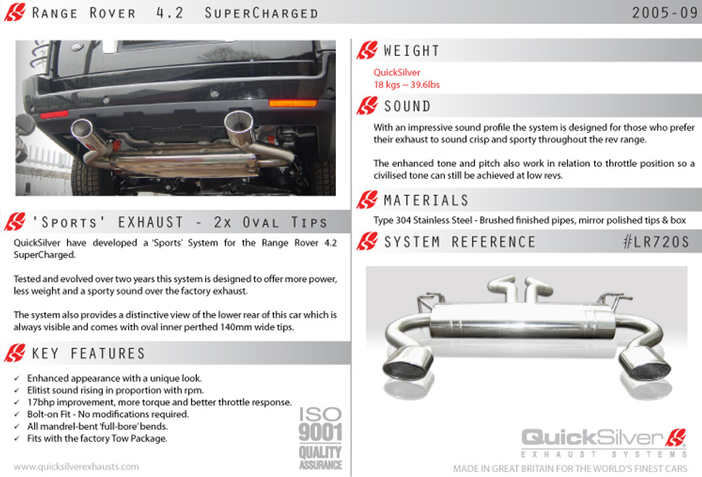 Range Rover Sport 4.2 Supercharged QuickSilver Exhaust System