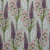 Foxtail Lily blooms grow among pastel bulbs and delicate foliage on this taupe wallpaper.