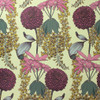 Laburnum flowers around Rhododendrons and Pom-Pom Dahlias on this raspberry colored wallpaper.