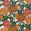 Chrysanthemums and Peonies in orange, pink and green on this floral wallpaper.