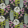 Bougainvillea flowers trailing around white hydrangeas on this floral wallpaper.