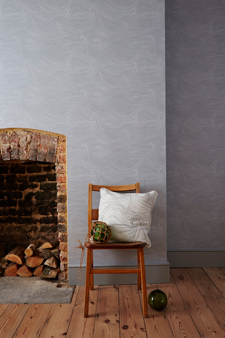 Grey and white wallpaper, featuring Ocean waves in a hand-drawn seascape, color in dusk.