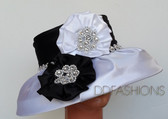 Ladies Hat - White Base with Black Crown and Matching Floral