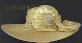 Gold Hat with Big Asymmetrical Brim