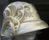 Ladies Satin Cloche, Jeweled Floral Spray