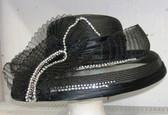Black Ladies Hat with Jewel Accents