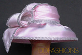 Gorgeous Light Pink Ladies Hat Trimmed with Jewel Accents