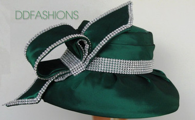 Green ladies church hat with silver banding circular bow