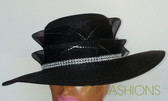 Ladies black hat with wide wavy brim with jewelry band