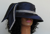Navy ladies hat with jeweled band