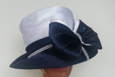 Navy Hat with White Crown