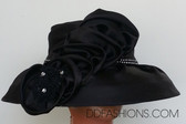 Classic Black Hat with Rhinestone Bands