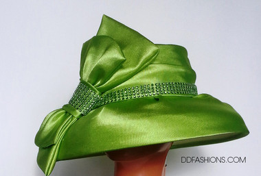 Beautiful New Green Hat With Large Vertical Bow @ ddfashions.com