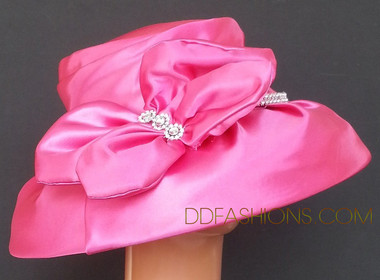 Small Brim Pink Ladies Hat with Large Bow